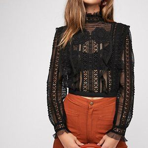 Free People FL&L Lace Victorian Tulle Blouse